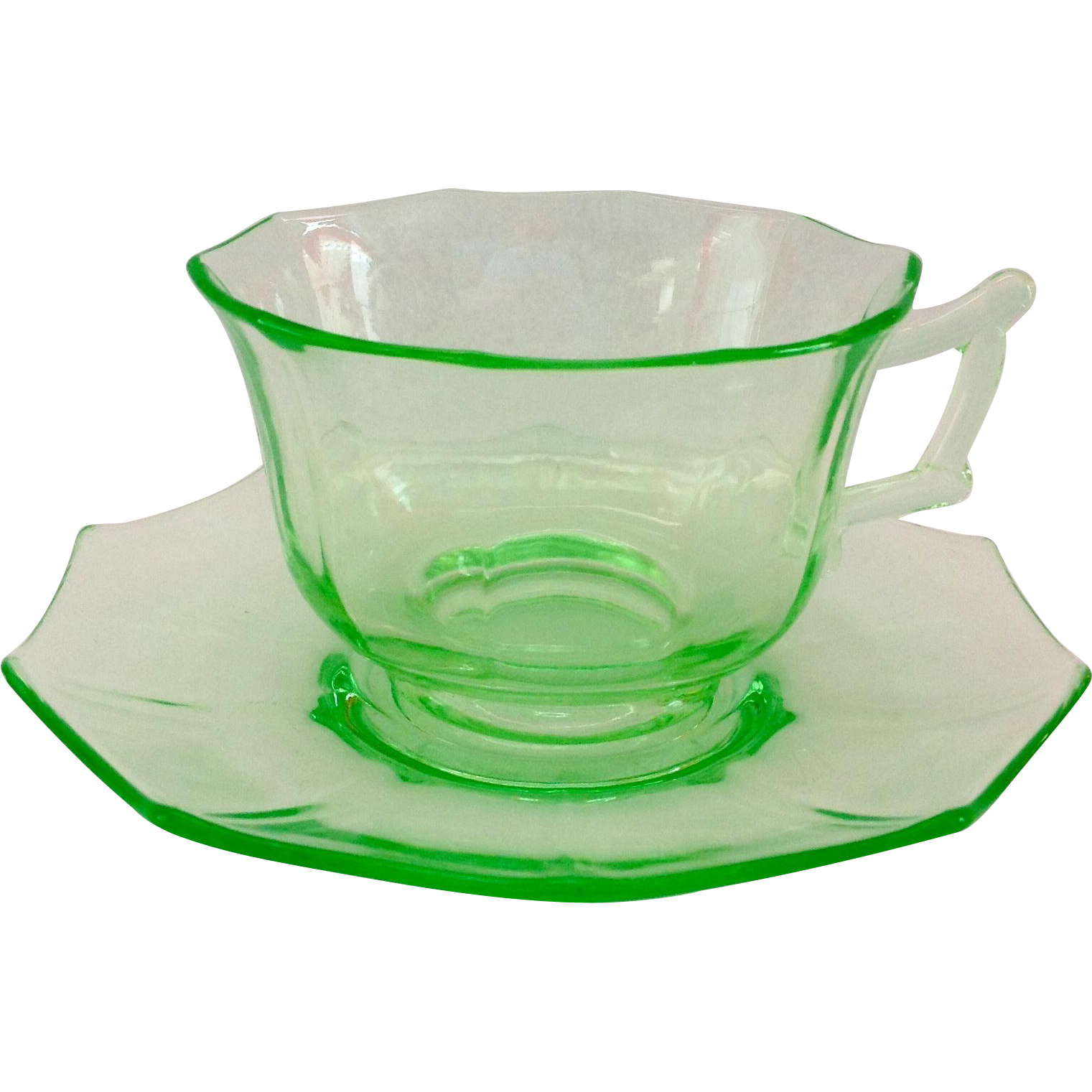 Cambridge Decagon Elegant Glass Emerald Green Depression Era Cup and Saucer