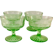 Hocking Circle Green Depression Glass Sherbets - Set of Four