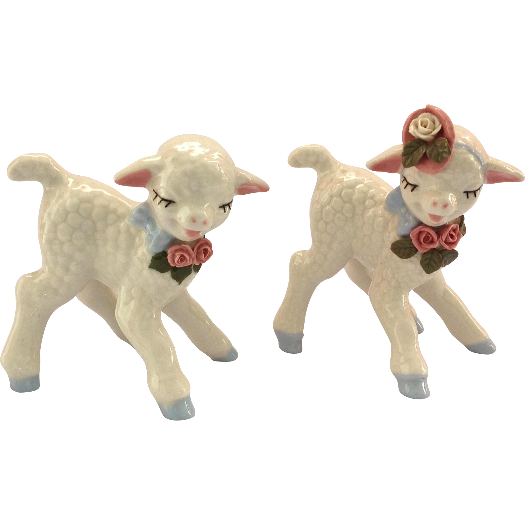 Pair of Cordelia China Ohio Pottery Lamb Figurines Circa 1940s
