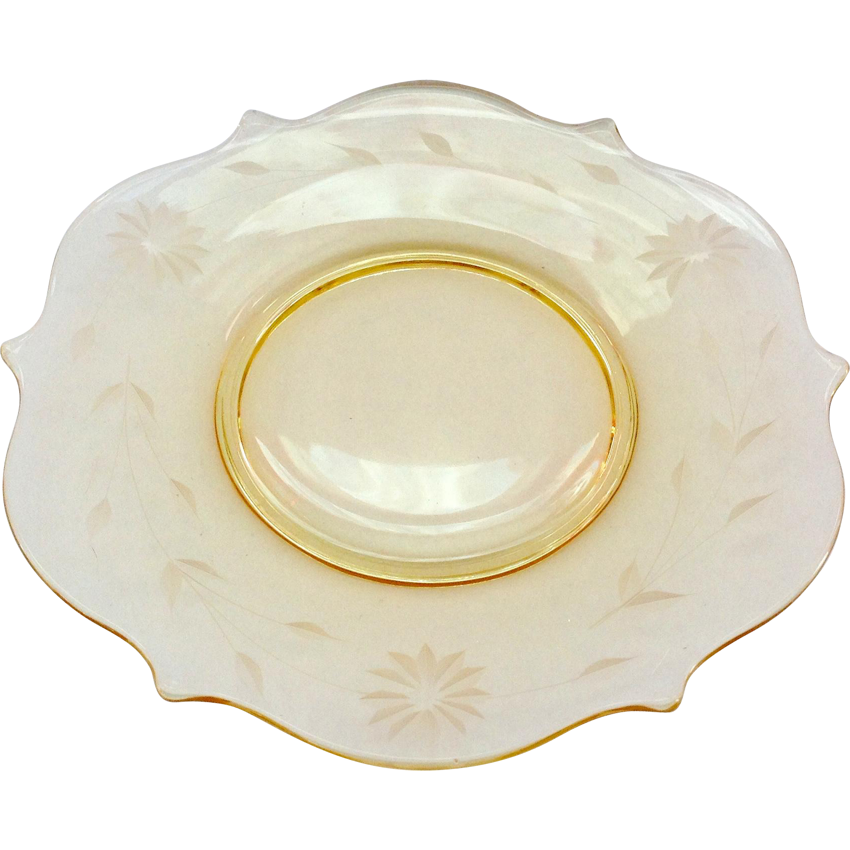 Lancaster Jubilee Topaz Yellow Depression Era Glass Luncheon Plate