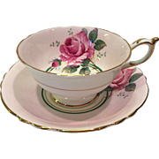 Paragon Bone China G6940 Pink Rose on Pink Ground Double Warrant Teacup and Saucer