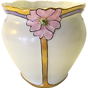 Art Deco Embossed Flower Hand Painted Vase in Pearl Lustre and Gold Signed Thomas