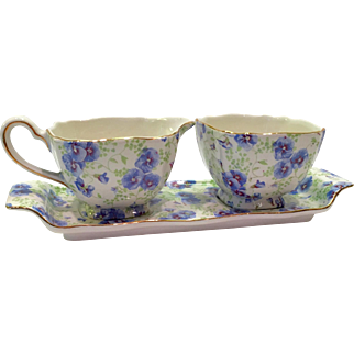 Lord Nelson Ware England Pansy Chintz Open Sugar Creamer and Tray