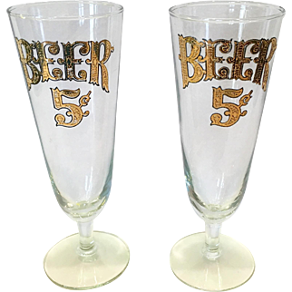 Culver Glass 22 Karat Gold Beer Pilsners - Set of Two