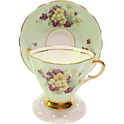 Clarence Bone China Longton England Mint Green Teacup and Saucer with Purple and Yellow Flowers