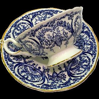 Coalport Bone China Cobalt Blue and White Basket and Garland 5012F Teacup and Saucer