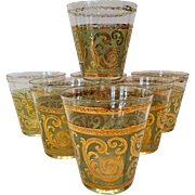 Mid Century Culver Glass 22K Gold on Green Toledo Double Old Fashioned Bar Glasses - Set of Seven