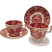 Wood & Sons English Scenery Red Transfer Ware Demitasse Cup and Saucer - Set of Two