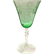 Fostoria Elegant Glass Depression Era Spartan Etch Green Twisted Stem Water Goblet