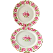 Two Lady Alexander Rose Bone China Luncheon Plates Bell China/Queen Anne