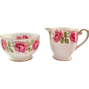 Lady Alexander Rose Bone China Sugar and Creamer Bell China/Queen Anne