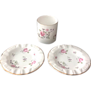 Royal Chelsea Bone China Three-Piece Flowered Smoking Set
