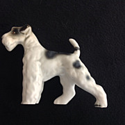 Standing Wire Fox Terrier Vintage Porcelain Dog Figurine