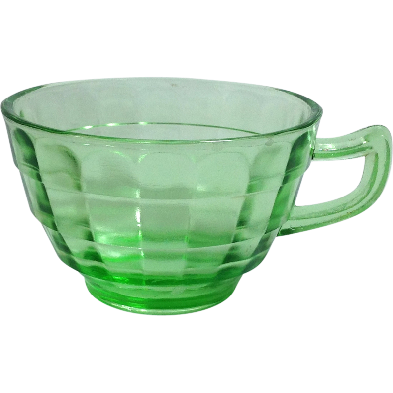 Hocking Block Optic Green Depression Glass Cups - No Saucers Set of Three