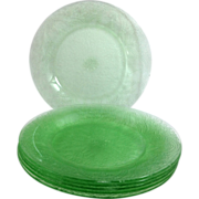 Indiana Horseshoe No. 612 Green Depression Glass 8-inch Salad Plate