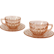 Jeannette Windsor Diamond Pink Depression Glass Cup and Saucer