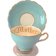 Adderley Floral Bone China Mother Sky Blue Teacup and Saucer