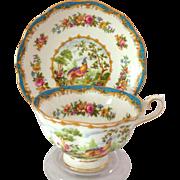 Royal Albert Bone China Chelsea Bird Blue Teacup and Saucer