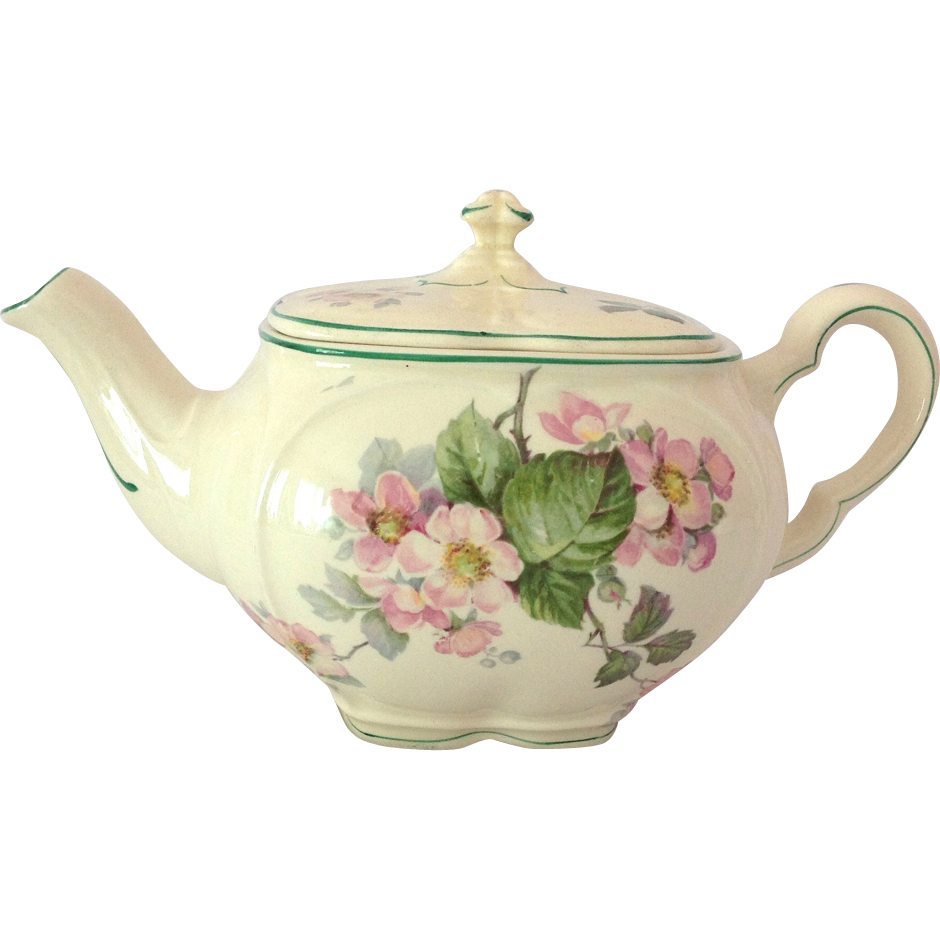 Edwin Knowles Gloria Pink Apple Blossoms Teapot with Matching Vegetable Bowl 1930s
