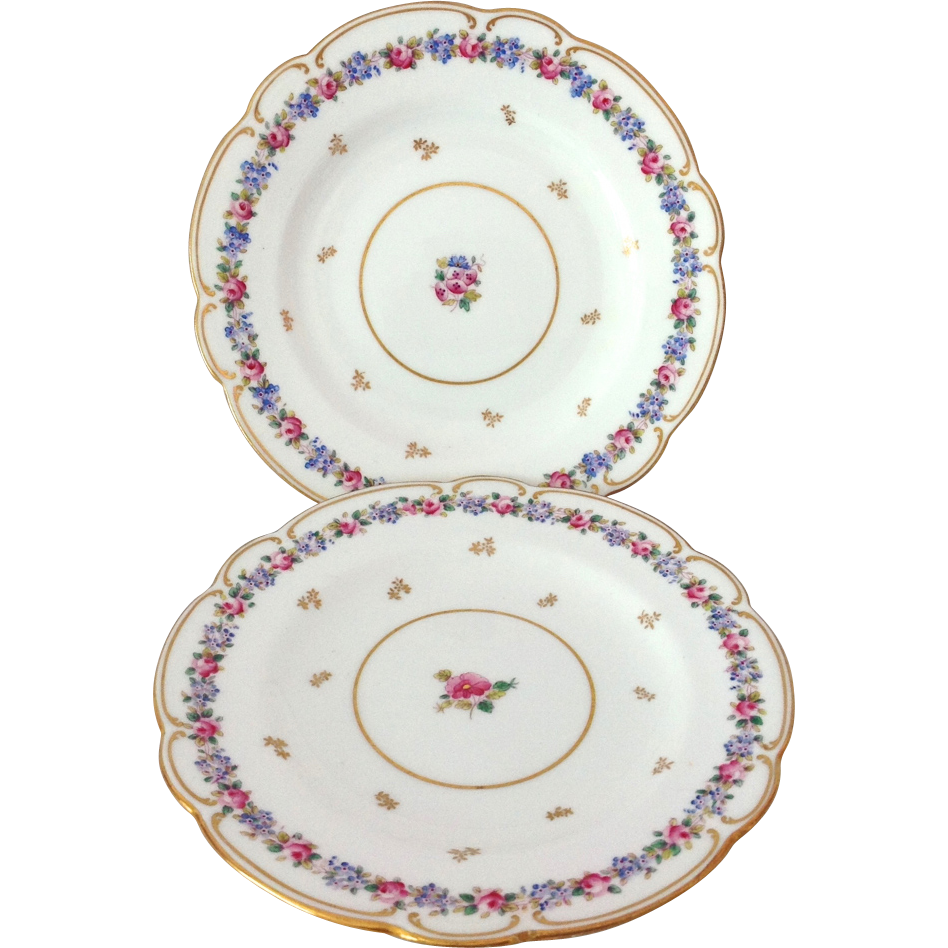 Two Coalport Pink and Blue Florals Y3223 Scalloped Bread and Butter Plates