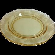 Fostoria Trojan Topaz 7-1/2 Inch Depression Era Elegant Glass Salad Plate