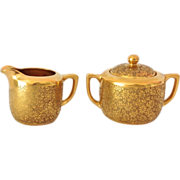 Pickard Rose and Daisy AOG Gold-Encrusted Individual Sugar and Creamer - Red Tag Sale Item