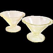 Two Roxana Yellow Depression Glass Sherbets Hazel-Atlas