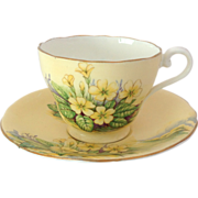 1930s Aynsley English Bone China Yellow Primroses C591/1 Tea Cup and Saucer