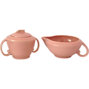Vernon Ware Ultra California Carnation Pink Covered Sugar and Creamer Set Circa 1940