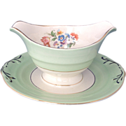 Crown Potteries USA Mint Green Gravy with Attached Underplate