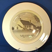 St. John's Episcopal Church AuSable-Oscoda Michigan 1960s Homer Laughlin Commemorative Plate