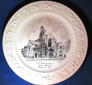 First Methodist Church Jackson Michigan Commemorative Plate Homer Laughlin Theme Circa 1955