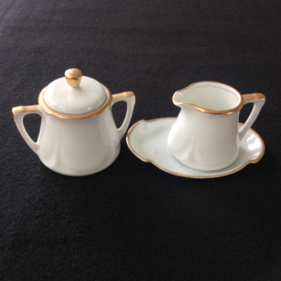 R.S. Germany White with Gold Trim Cream and Sugar Set with Tray