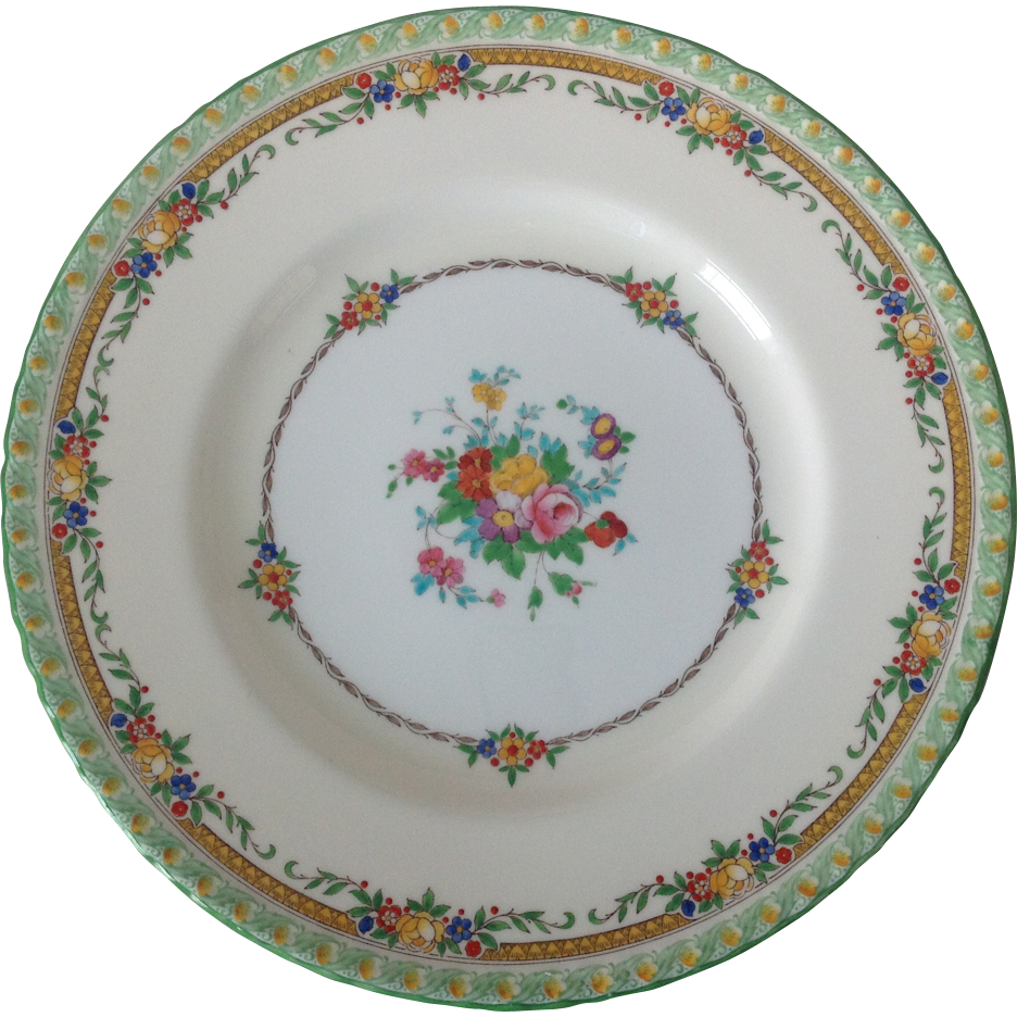 Minton B1201 Enameled Flowers Green Rim Dinner Plate Circa 1920s