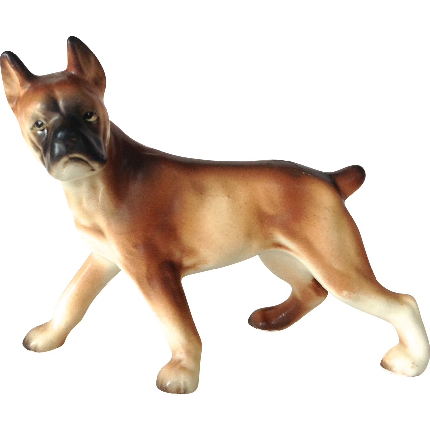 Vintage Porcelain Standing Boxer Dog Figurine Stamped Japan