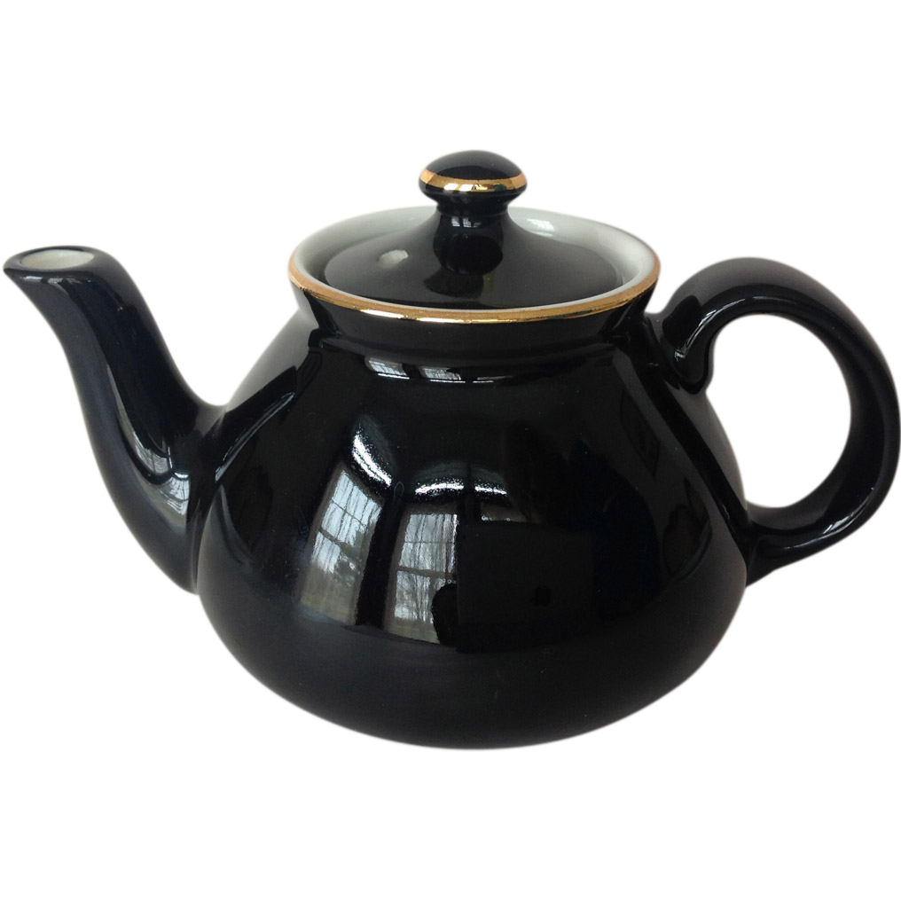 Hall New York Shape Black and Gold Teapot