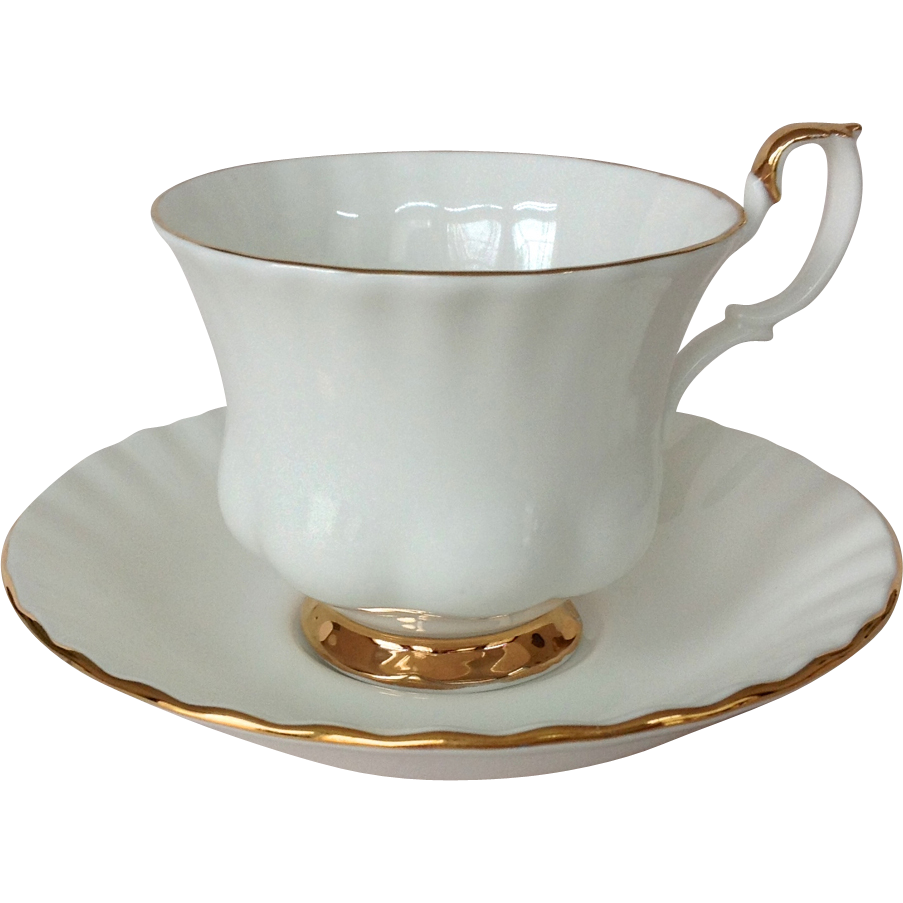 royal albert val d 39 or white bone china cup and saucer with gold trim from maggiebelles on ruby lane. Black Bedroom Furniture Sets. Home Design Ideas