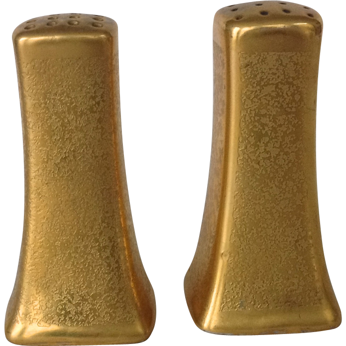 Early 1900s Pickard Stouffers Gold Encrusted Salt and Pepper Shakers