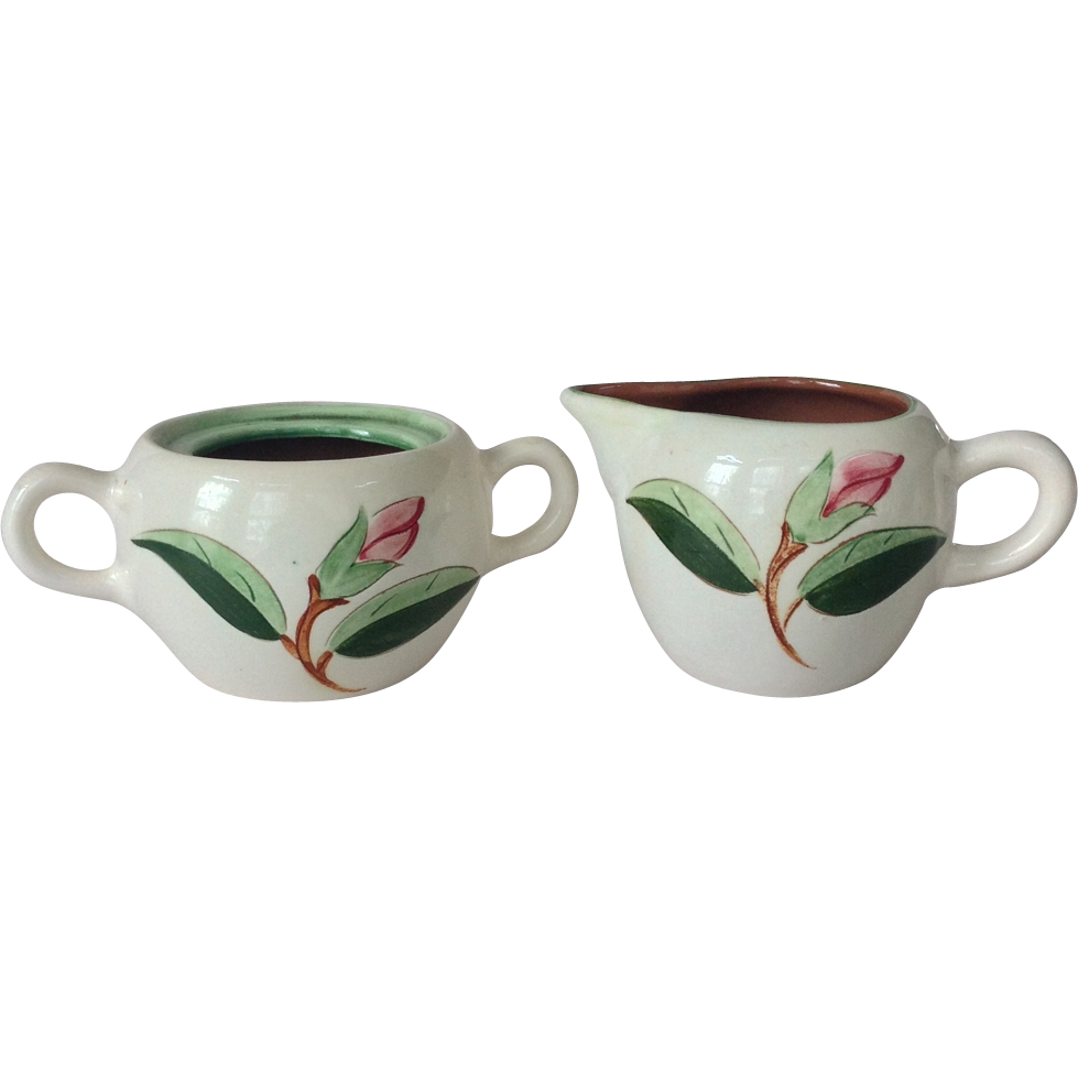 Stangl Pottery Prelude Pink Flower Cream and Sugar
