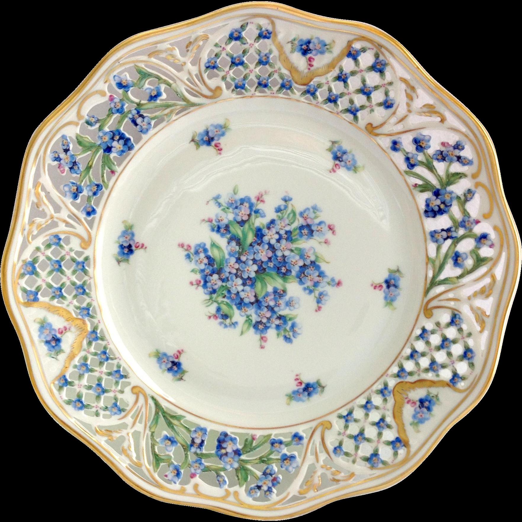 Schumann bavaria chalet blue forget me not pierced rim Beautiful plates