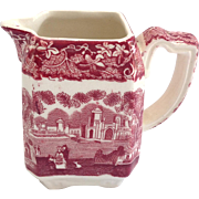 Mason's Vista Ironstone Red Transfer Ware Small Square Creamer circa 1930s
