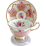 Royal Chelsea Bone China 523a Pink Panels Gold Swirls Floral Teacup and Saucer