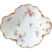 Haviland Limoges Antique Pink Floral Open Candy Dish