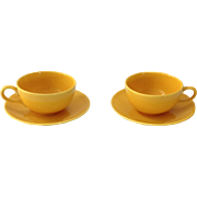Homer Laughlin Rhythm Yellow 1950s Cup and Saucer Sets - Set of Two