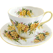 Royal Albert Laburnum Blossom Time Series Bone China Teacup and Saucer