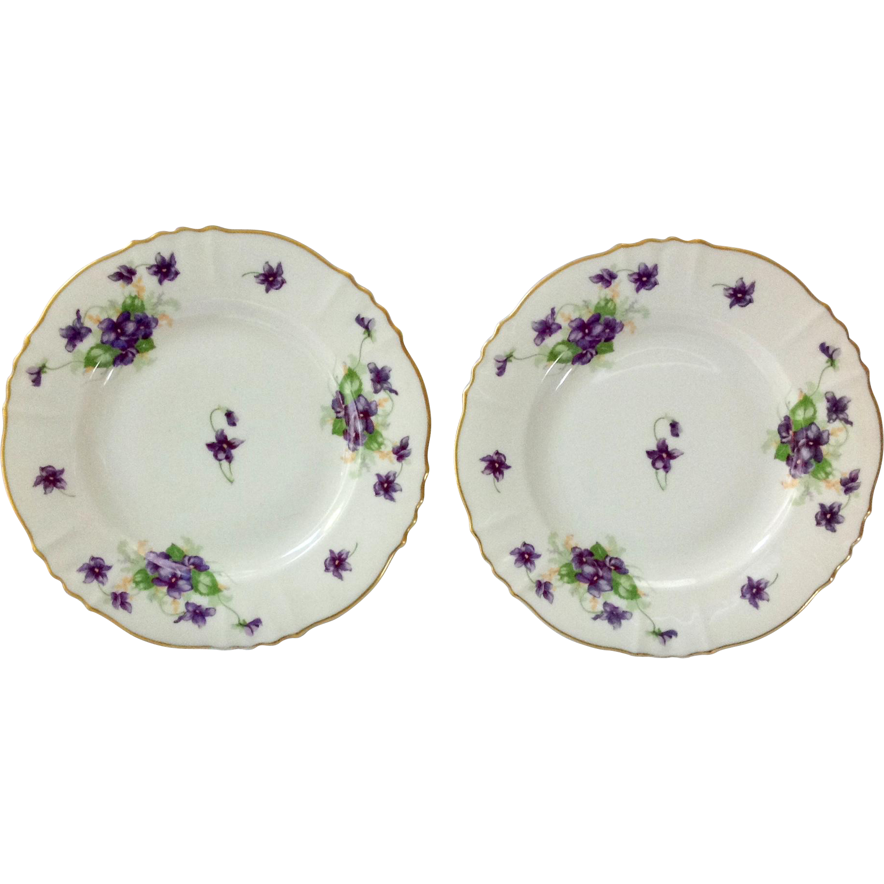 Syracuse China Federal Shape Violets Bread-and-Butter Plates Set of Two