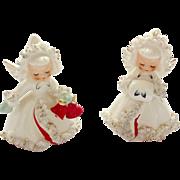 Holt Howard Ermine Spaghetti Angels 1958 Christmas Candleholders