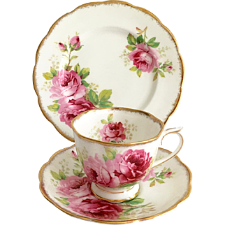 Royal Albert Bone China American Beauty Three Piece Set Teacup and Saucer with Dessert Plate