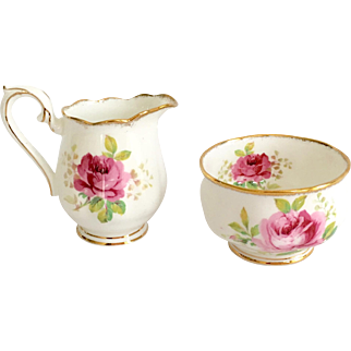 Royal Albert Bone China American Beauty Open Sugar and Creamer