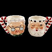 Lefton China Mr. and Mrs. Santa Claus YU 868 Shaped Mugs 1950s Set of Two
